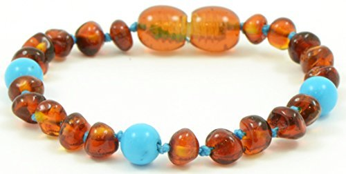 Bead Baby Bracelet - Baltic Amber Teething Bracelet for Babies with Turquoise Beads - 5.5 Inches - Baltic Amber Land - Knotted for Safety - Polished Cognac Amber Beads - Screw Clasp (Light Blue with Turquoise Beads)