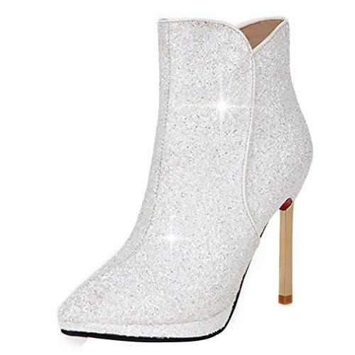 ENMAYER Zapatos Glitter para mujer Zapatos de tacón fino Botines de invierno Botines de punta estrecha de fiesta y boda Blanco