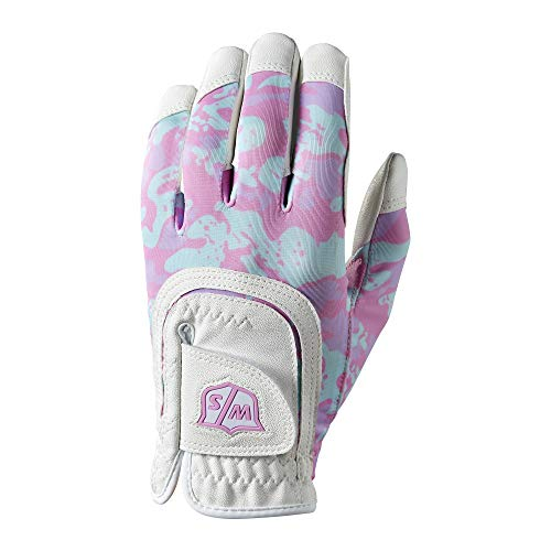 (Wilso Staff Junior Fit All Camo Golf Glove, White/Pink)