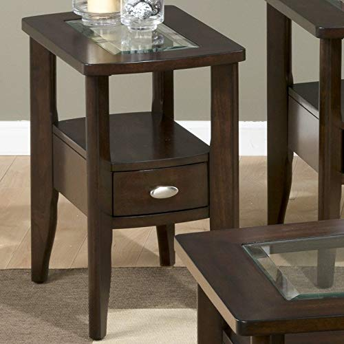 End Table with Drawer - End Table with Glass Insert - Merlot