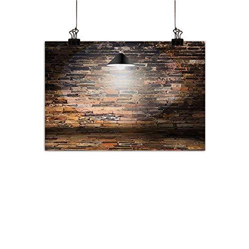 - Anzhutwelve Brick Wall Modern Oil Paintings Dark Cracked Bricks and Ceiling Lamp Spot Light Life Building Urban City Image Canvas Wall Art Black Red 35
