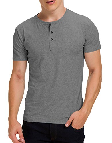 Boisouey Men's Casual Slim Fit Short Sleeve Henley T-Shirts Cotton Shirts Dark Grey XL