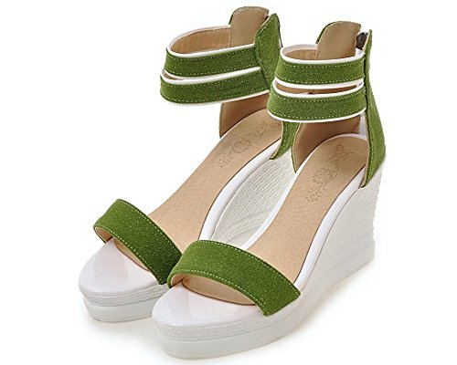 Solid High Zipper WeenFashion Open Green Frosted Women's Sandals Heels Toe TxwARq