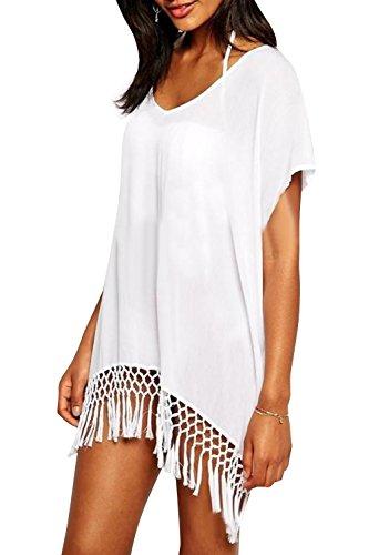 Yonala Women's White Chiffon Fringe Beachwear Bikini Cover-Ups