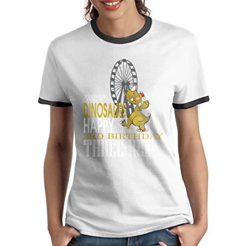 MiiyarHome Women's Ringer T-Shirt Dinosaurs for Kids, Ladies Tee Short Sleeves Teen Girls Jersey Shirt Black - Ringer Dinosaur T-shirt