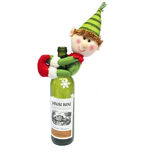 Walant Women Christmas Decoration Accessories Santa Claus & Snowman Doll &Elf Wine Bottle Holder Cover Party Table Decor (Elf)