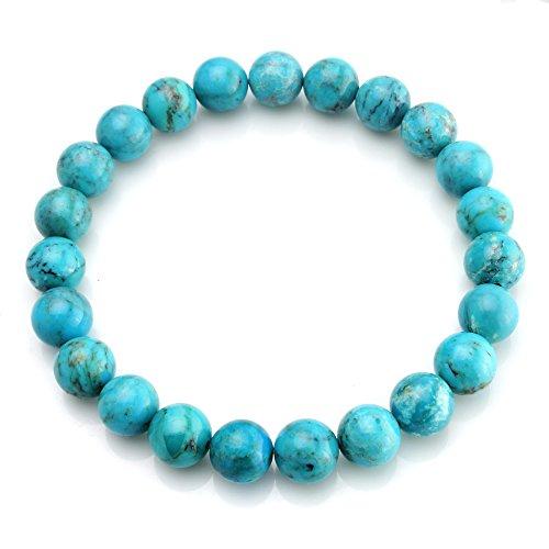 BEADNOVA AAA Grade 10mm Turquoise Gemstone Bracelet Semi Precious Gemstone Birthstone Round Beads Stretch Bracelet 7.8