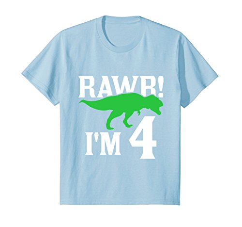 Price comparison product image Kids Rawr! I'm 4 - 4th Birthday Dinosaur Gift T-Shirt 4 Year Old
