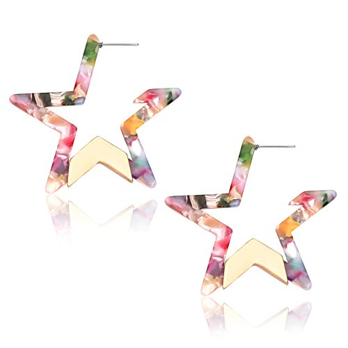 (ZITULRY Geometric Resin Hoop Earrings for Women Star Triangle Floral Tortoise Statement Acrylic Dangle Earrings Metal Edged Resin Drop Earrings Fashion Jewelry (Star Floral) )
