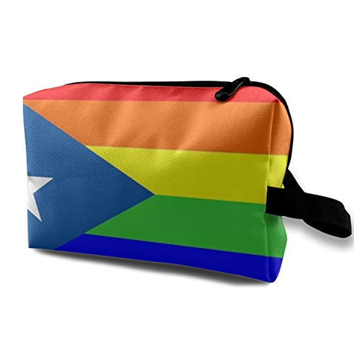 Denim09 Cosmetic Bags Puerto Rico Rainbow Flag Gay Pride Cute Multifunction Sewing Kit Medicine Makeup Storage Bag for Travel Camping Gym ()