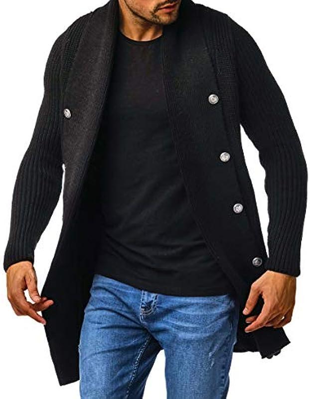 Leif Nelson Męska kurtka z dzianiny z zamkiem błyskawicznym, kardigan, czarna kurtka na zimę, kołnierz szalikowy, kurtka przejściowa, męska, kurtka na czas wolny, slim fit, LN5995N: Odzież
