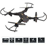 XS809S Drone Quadcopter with 2.0MP HD Wide Angle Camera and WIFI FPV Foldable 2.4GHz 6-Axis Gyro Remote Control Drone Gravity Sensor Altitude Hold Headless mode one key return Function