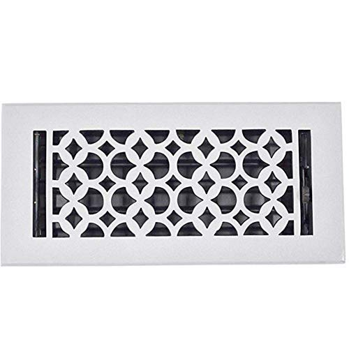 Powder Coated Vent Cover - Floor Register 4x10, Cast Iron Floor Vent with Metal Damper Black - Floor Registers for Home Décor, Heavy Duty, Hand Crafted, Sand Casted Home Decorative Hardware, Powder Coated Matte Flat - White