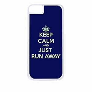 Keep Calm And Just Run Away-Green/Navy-Hard White Plastic Snap - On Case-Apple Iphone 4 - 4s - Great Quality!