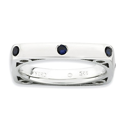 Stackable Expressions Sterling Silver Polished Simulated Sapphire Square Ring - Size 6 by Stackable Expressions