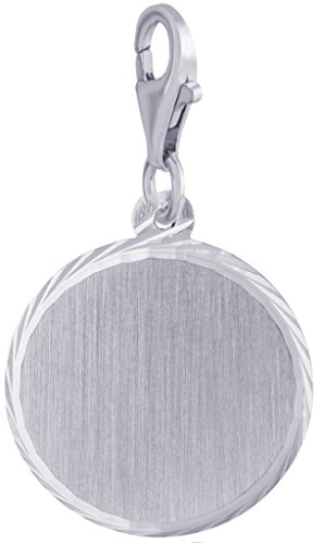(Rembrandt Charms, Diamond Cut Disc with Clasp, Brushed Finish.925 Sterling Silver,)