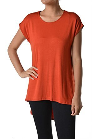 (Azules Women's Solid Color Rayon Span High Low Cap Sleeved Tunic - Rust, XL)