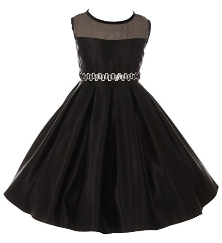 Black Illusion Flower - iGirlDress Big Girls Illusion Satin Flower Girl Communion Dress Black Size 16