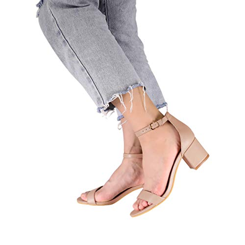 2344416dae Eunicer Women's Single Band Classic Chunky Block Low Heel Pump Sandals with Ankle  Strap Dress Shoes