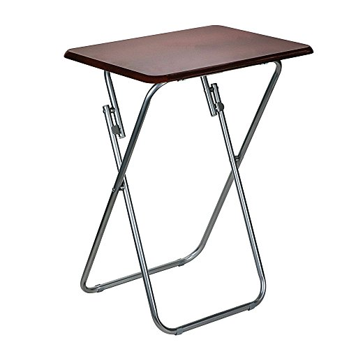 DecorRack Foldable Snack Table with Wooden Top, 26 inch Portable Lightweight Folding Table, Small TV Tray Table, Side End Table, Laptop Stand, Cherry Stain Finish (1 Pack) by DecorRack