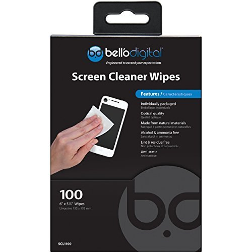 """UPC 748249011004, Bell'O Digital SCL1100  All Natural Screen Cleaner Wipes 6"""" x 5 1/4"""" for TVs, Tablets, Phones, Computers - Pack of 100"""