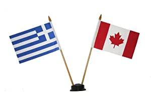 CANADA & GREECE HELLAS Small 15 X 10 Cm Mini Double Country Stick Flag Banner with BLACK STAND on a 10 Inch Plastic Pole .. New