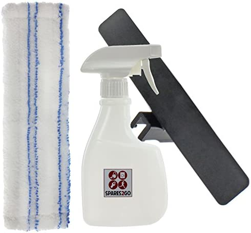 SPARES2GO Spray Bottle Kit for Karcher WV50 WV55 WV60 WV65 WV70 WV75 Window Vacuum + Vac Pad/Cloth Cover