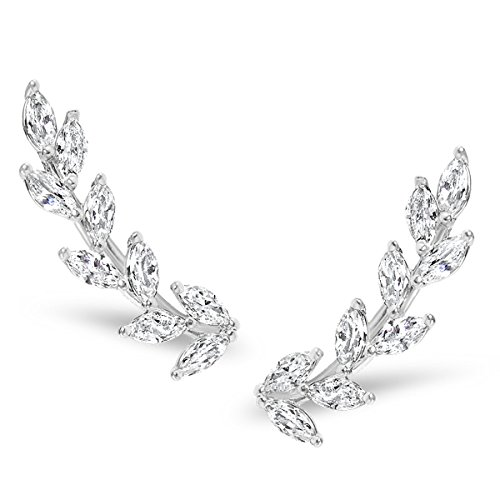 Humble Chic Crystal Leaf Ear Climbers - Simulated Diamond Flower Crawler Cuff Stud Earrings, Silver-Tone Petals ()