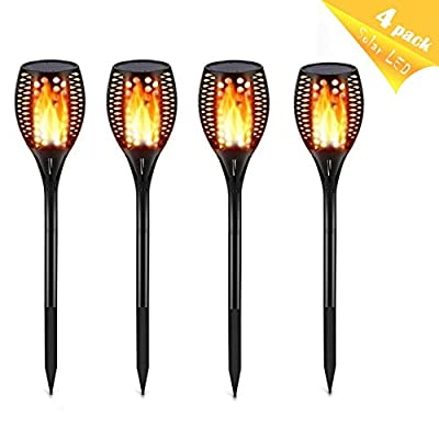Lampmall Solar Torch Light IP65 Flickering Flames Outdoor Waterproof Landscape Decoration Spotlights Lighting 96 Leds Dusk to Dawn Auto On/Off for Patio Driveway 4 Pack