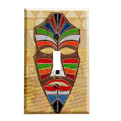 African Mask on Tan Switchplate - Switch Plate Cover
