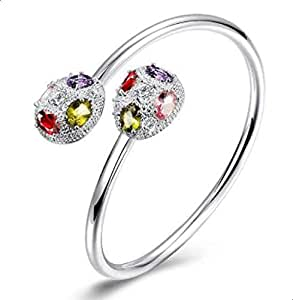 Women's Classic Silver Bracelet with a colored zircons