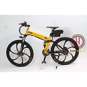 41M5VO N0XL. SS300 HYLH 48V 500W in Lega di magnesio Ruota Integrale Ebike Giallo Pieghevole Telaio Elettrico Bicicletta con Display LCD
