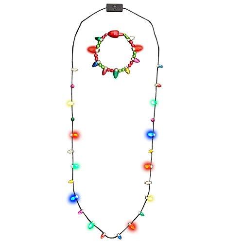Glowmaker Set of Light Up LED Christmas Holiday Mini Bulb Necklace & Light Up LED Christmas Holiday Mini Bulb Bracelet ()