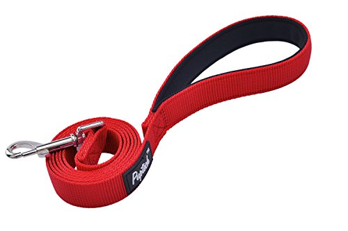 PUPTECK Dog Training Leash Durable Nylon Lead with Padded Handle for Pet Puppy, Red Small