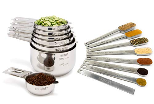 Measuring Cups and Spoons Set by Simply Gourmet. Premium Set of Stainless Steel Measuring Cups and Spoons with level. Includes Engraved Metal Measuring Cups and Spoons Plus Level