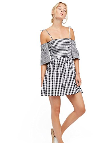 Plaid Spring Dress - Deargles Womens Off The Shoulder Dress & Ruffled Sleeves Square Striped Plaid Dress, Trendy and Sexy Elegant Dresses Black M