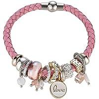 AutumnFall New Women Trendy Pearl Rhinestones Alloy Bracelet Risers Acrylic Layer Bracelets (Pink)