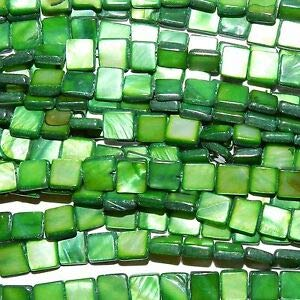 MP2255 Green 8mm Flat Square Mother of Pearl Gemstone Shell Beads 15