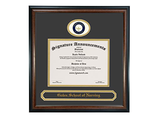 (Signature Announcements Galen-College-of-Nursing Undergraduate, Professional/Doctor Sculpted Foil Seal & Name Graduation Diploma Frame 16