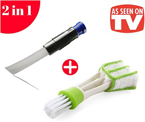 Dust Brush Pro Cleaner Universal attachment/Dust Brush Vacuum Tubes Attachment Dust Remover with Strong Suction, Flexible Tubes+Free Dual Head Micro Fiber Vent Duster. ()