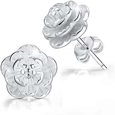 1a3969440 MadeOne ✦Gifts for Mother's Day✦ Hypoallergenic 18K White Gold Plating 3D Rose  Flower Stud