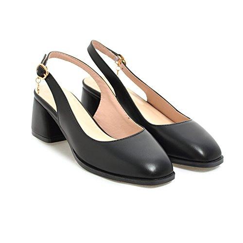 y brillante blanco negro B de Baotou primavera cuero Zapatos damas albaricoque de americano de europeo y SHINIK verano de mujer sandalias w1PfxqSX