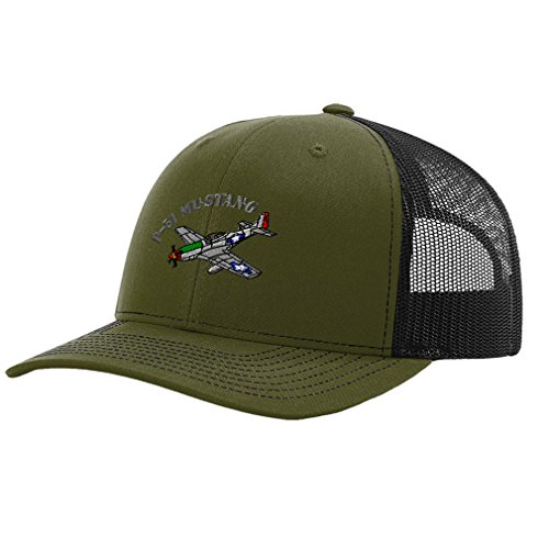 Embroidery Mustang (Speedy Pros P-51 Mustang Aircraft Name Embroidery Richardson Structured Front Mesh Back Cap Loden/Black)
