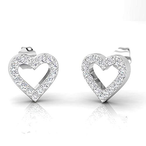 IGI Certified 3/8 Carat Natural Diamond Sterling Silver Heart Shaped Stud Earrings for Women (J-K Color, I2-I3 Clarity)