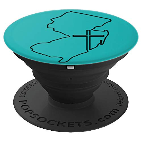 New Jersey with Cross - Religious Art on Teal PDTF581c - PopSockets Grip and Stand for Phones and Tablets (Religious Jerseys)