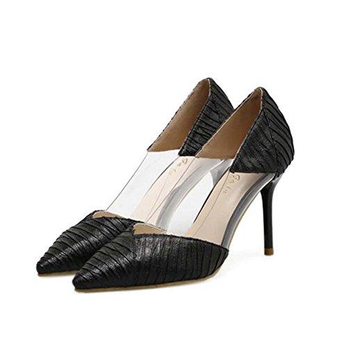 Zapatos plástico Plata Tamaño 39 Negro Salvaje de de Oro Estrecha 34 Punta Negro de Costura de Zapatos Moda Mujer HR6rHnZzwq