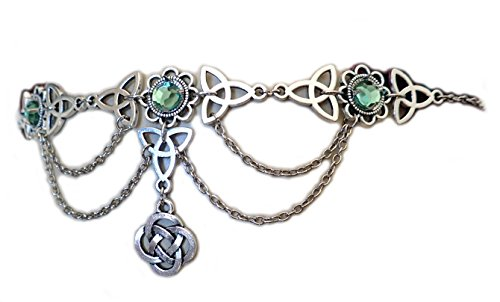 Moon Maiden Jewelry Celtic Triquetra Trinity Knot Draping Chain Headpiece Light Green ()