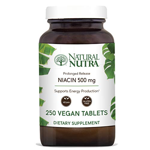 Natural Nutra Time-Release Niacin 500mg (Vitamin B3) with Nicotinic Acid, Cholesterol Supplement, 250 Vegan and Vegetarian Tablets (Time Release 250 Tablets)