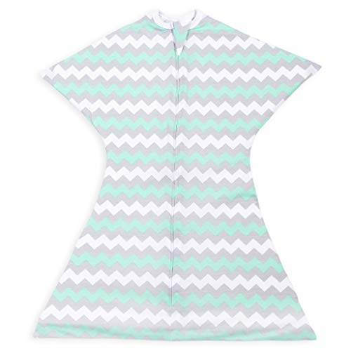 SleepingBaby Chevron Zipadee-Zip Swaddle Transition Baby Swaddle Blanket with Zipper, Cozy Baby Swaddle Wrap and Baby Sleep Sack (Extra Small 3-6 Months | 8-13 lbs, 18-26 inches | Chevron Mint)