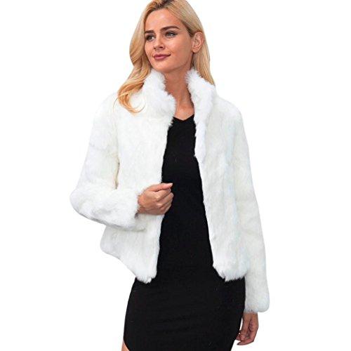 DAYLIN New Plus Size Womens Warm Faux Fur Coat Jacket Winter Parka Outerwear White